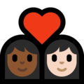 Couple with Heart: Woman, Woman, Medium-Dark Skin Tone, Light Skin Tone on Microsoft Windows 10 May 2019 Update