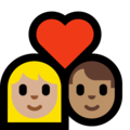 Couple with Heart: Woman, Man, Medium-Light Skin Tone, Medium Skin Tone on Microsoft Windows 10 May 2019 Update