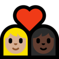 Couple with Heart: Woman, Woman, Medium-Light Skin Tone, Dark Skin Tone on Microsoft Windows 10 May 2019 Update