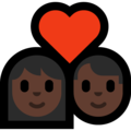 Couple With Heart: Dark Skin Tone on Microsoft Windows 10 May 2019 Update