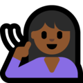 Deaf Woman: Medium-Dark Skin Tone on Microsoft Windows 10 May 2019 Update