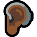 Ear with Hearing Aid: Medium-Dark Skin Tone on Microsoft Windows 10 May 2019 Update
