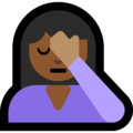 Person Facepalming: Medium-Dark Skin Tone on Microsoft Windows 10 May 2019 Update