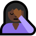 Person Facepalming: Dark Skin Tone on Microsoft Windows 10 May 2019 Update