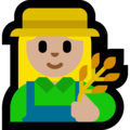 Woman Farmer: Medium-Light Skin Tone on Microsoft Windows 10 May 2019 Update
