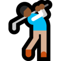 Person Golfing: Medium-Dark Skin Tone on Microsoft Windows 10 May 2019 Update