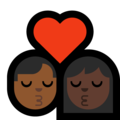 Kiss - Man: Medium-Dark Skin Tone, Woman: Dark Skin Tone on Microsoft Windows 10 May 2019 Update
