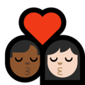 Kiss - Man: Medium-Dark Skin Tone, Woman: Light Skin Tone on Microsoft Windows 10 May 2019 Update