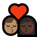 Kiss - Man: Medium Skin Tone, Woman: Dark Skin Tone on Microsoft Windows 10 May 2019 Update