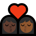 Kiss - Woman: Dark Skin Tone, Woman: Medium-Dark Skin Tone on Microsoft Windows 10 May 2019 Update