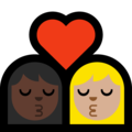 Kiss - Woman: Dark Skin Tone, Woman: Medium-Light Skin Tone on Microsoft Windows 10 May 2019 Update