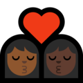 Kiss: Woman, Woman, Medium-Dark Skin Tone, Dark Skin Tone on Microsoft Windows 10 May 2019 Update