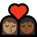 Kiss: Woman, Woman, Medium Skin Tone, Medium-Dark Skin Tone on Microsoft Windows 10 May 2019 Update