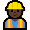 Man Construction Worker: Dark Skin Tone on Microsoft Windows 10 May 2019 Update