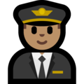 Man Pilot: Medium Skin Tone on Microsoft Windows 10 May 2019 Update