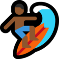 Man Surfing: Medium-Dark Skin Tone on Microsoft Windows 10 May 2019 Update