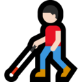 Man with White Cane: Light Skin Tone on Microsoft Windows 10 May 2019 Update