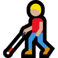 Man with White Cane: Medium-Light Skin Tone on Microsoft Windows 10 May 2019 Update