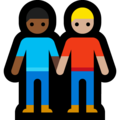Men Holding Hands: Medium-Dark Skin Tone, Medium-Light Skin Tone on Microsoft Windows 10 May 2019 Update