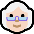 Old Woman: Light Skin Tone on Microsoft Windows 10 May 2019 Update
