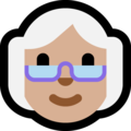 Old Woman: Medium-Light Skin Tone on Microsoft Windows 10 May 2019 Update