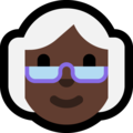 Old Woman: Dark Skin Tone on Microsoft Windows 10 May 2019 Update