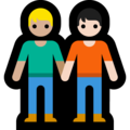People Holding Hands: Medium-Light Skin Tone, Light Skin Tone on Microsoft Windows 10 May 2019 Update