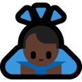 Person Bowing: Dark Skin Tone on Microsoft Windows 10 May 2019 Update