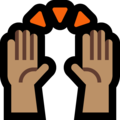 Raising Hands: Medium Skin Tone on Microsoft Windows 10 May 2019 Update