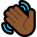 Waving Hand: Medium-Dark Skin Tone on Microsoft Windows 10 May 2019 Update