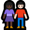 Woman and Man Holding Hands: Dark Skin Tone, Light Skin Tone on Microsoft Windows 10 May 2019 Update