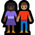Woman and Man Holding Hands: Dark Skin Tone, Medium Skin Tone on Microsoft Windows 10 May 2019 Update