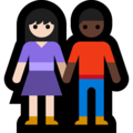 Woman and Man Holding Hands: Light Skin Tone, Dark Skin Tone on Microsoft Windows 10 May 2019 Update