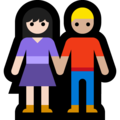 Woman and Man Holding Hands: Light Skin Tone, Medium-Light Skin Tone on Microsoft Windows 10 May 2019 Update