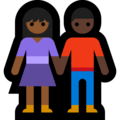 Woman and Man Holding Hands: Medium-Dark Skin Tone, Dark Skin Tone on Microsoft Windows 10 May 2019 Update