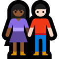 Woman and Man Holding Hands: Medium-Dark Skin Tone, Light Skin Tone on Microsoft Windows 10 May 2019 Update
