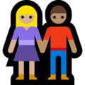 Woman and Man Holding Hands: Medium-Light Skin Tone, Medium Skin Tone on Microsoft Windows 10 May 2019 Update