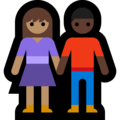 Woman and Man Holding Hands: Medium Skin Tone, Dark Skin Tone on Microsoft Windows 10 May 2019 Update
