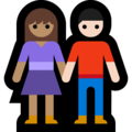 Woman and Man Holding Hands: Medium Skin Tone, Light Skin Tone on Microsoft Windows 10 May 2019 Update