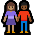 Woman and Man Holding Hands: Medium Skin Tone, Medium-Dark Skin Tone on Microsoft Windows 10 May 2019 Update
