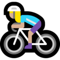 Woman Biking: Medium-Light Skin Tone on Microsoft Windows 10 May 2019 Update