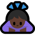 Woman Bowing: Dark Skin Tone on Microsoft Windows 10 May 2019 Update