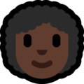 Woman: Dark Skin Tone, Curly Hair on Microsoft Windows 10 May 2019 Update