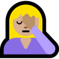 Woman Facepalming: Medium-Light Skin Tone on Microsoft Windows 10 May 2019 Update