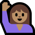 Woman Raising Hand: Medium Skin Tone on Microsoft Windows 10 May 2019 Update