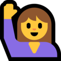 Woman Raising Hand on Microsoft Windows 10 May 2019 Update