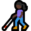 Woman with White Cane: Dark Skin Tone on Microsoft Windows 10 May 2019 Update
