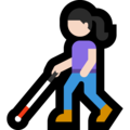 Woman with White Cane: Light Skin Tone on Microsoft Windows 10 May 2019 Update