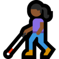 Woman with White Cane: Medium-Dark Skin Tone on Microsoft Windows 10 May 2019 Update
