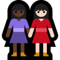 Women Holding Hands: Dark Skin Tone, Light Skin Tone on Microsoft Windows 10 May 2019 Update